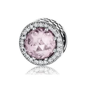 Charm Plata Y Zirconias Cristal Rosa Compatible Con Pandora
