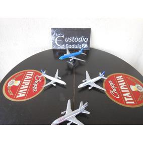 Lote Com 4 Miniaturas De Metal Aviões Comerciais