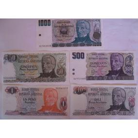 Cédulas Peso Argentino 1/10/50/500/1000 (lote 5/un)