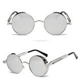 Oculos Redondo Steampunk Com Molas Lente Prata Espelho Uv400 316534f57d