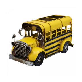 Ônibus Escolar Amarelo Retro Enfeite Metal 20cm