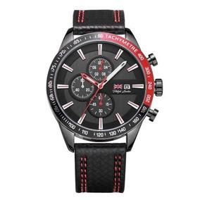 Relógio Masculino Cronógrafo Preto E Vermelho Pl80039612m