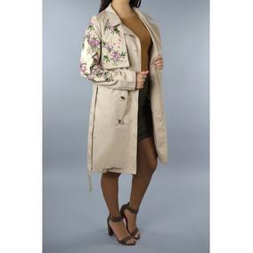 Gabardina Beige Flores Bordadas Dama Trech Moderno Coat Envi