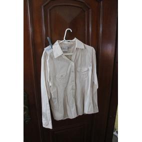 = Roupa Lote 616 Mulher Camisa Social Listrada Creme Usa G