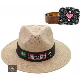 Cinto Feminino Couro Country Cowgirl + Chapeu Delicada 81e0459e175