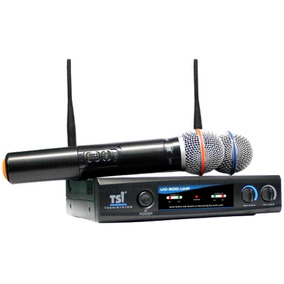 Microfone Sem Fio Tsi Ud 800 Uhf Duplo De Mão Pronta Entrega