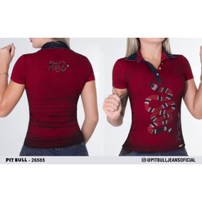Blusa Polo Manga Longa Feminina Da Pit Bull - Camisetas e Blusas no ... e5420d2b918