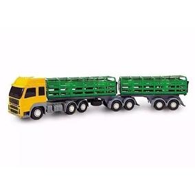 Miniatura Carreta Bitrem Boiadeiro - Caminhão Brinquedo 61cm