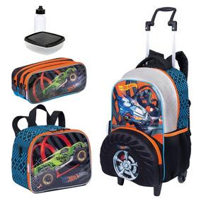 Kit Mochila Infantil Hot Wheels 19z Lancheira Estojo Sestini