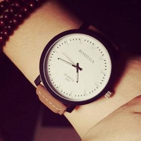 Relógio Quartz Importado Couro Sintético Marrom 5 Cms Diamet