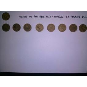 Lote De 9 Moedas 1000 Réis 1927 Simbolo Da Fortuna 27 Mm