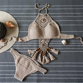 Sexy Bikini Brasileño Conjunto Traje De Baño Tejido