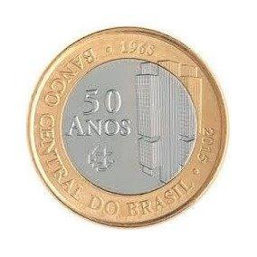 Moeda Comemorativa De 1 Real 50 Anos Do Banco Central