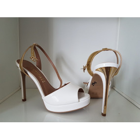 Sandália Sapato Salto Alto Camminare Verniz Branco 34
