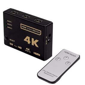 Switch Hdmi 3 Entrada 1 Saida 4k Com Controle Full Hd 3d