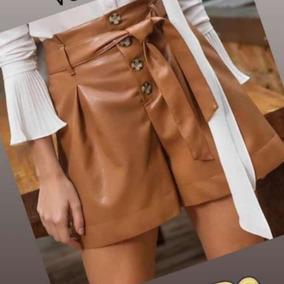 Shorts Feminino De Couro Ecológico Moda Blogueira 2019