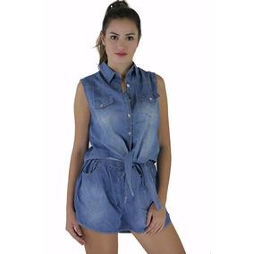Conjunto Short E Cropped Regata Jeans Moda Blogueira