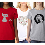 Pack Oferta X3 Remeras Estampadas (cat, Love, Marilyn)