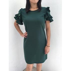 Vestido Manga Corta Con Olanes Color Negro Verde Y Vino
