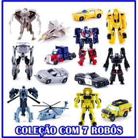 Kit 7 Bonecos Transformers Bumblebee Optimus Prime Robôs Top