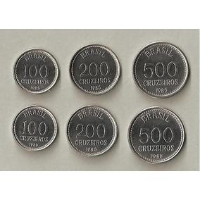 Moedas 100, 200, 500 Cruzeiros 1985 E 1986 - Série Completa