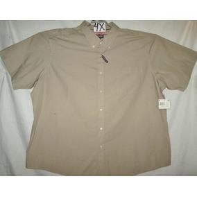 Camisa Casual/ Vestir Beige Khaky Talla 4x Basic Edition