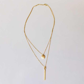 Collar De Barra Y Círculo Doble Cadena Chapa De Oro Dorada