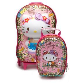 Mochila Escolar Feminina Hello Kitty Floral 3d Com Lancheira