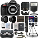 Super Kit Camara Nikon D3400 4 Lens 18-55mm Vr+ 500mm+19 Acc