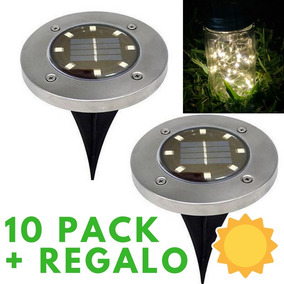 10 Luces Solares Empotrables 8leds Decoración Jardín +regalo