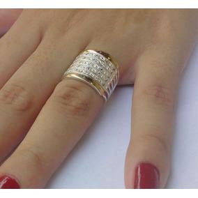 Lindo Anel 7 Elos Prata 950 2 Filetes Ouro Pedras Zircônias f41ef8f330