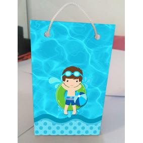 Kit Com 10 Sacolinhas Personalizadas Festa Da Piscina Pool