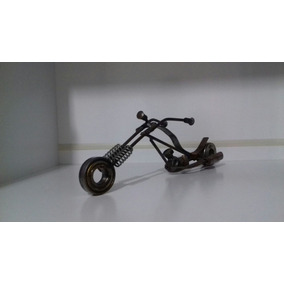 Miniatura Moto Customizada Toda Em Aço, Aproximadamente 25cm