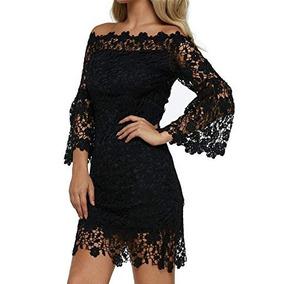 Vestido Elegante Mujer Vintage Fiesta Coctel Boda Negro Enca