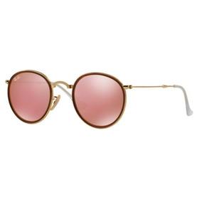 e4f93a95ce Oculos Sol Ray Ban Round Rb3517 001 z2 51mm Dobravel Dourado