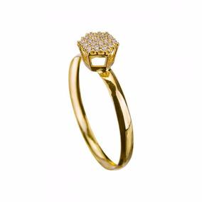 Anel Chuveiro Zircônia A155 Em Ouro 18k 750