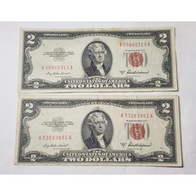 Notas De 2 Dólares 1953 A Selo Vermelho - Eua