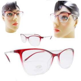 Armação Oculos Grau Pequeno Feminino Estilo Gatinho Acetato. R  79 0eaedb333f