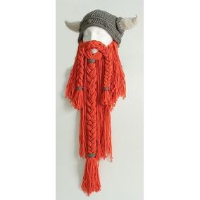 Gorro Vikingo Con Barba Adulto Tejido Crochet