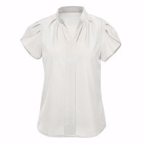 Camisa Blusa Feminina Social Mangacurta Crepe Cores Uniforme e583d7352c39e