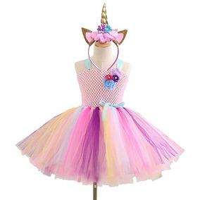 Vestido De Unicornio Con Diadema Cuerno Disfraz Niña Museya