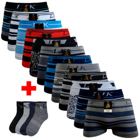 Kit 10 Cuecas Boxer Men + 12 Pares Meias Cano Longo