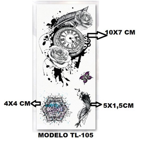 3 (três)tatuagem Temporária Vários Desenhos Em Uma Cartela