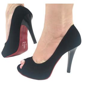 9b3777b17 Sapato Feminino Peep Toe Salto Alto Fino Bico Aberto 603