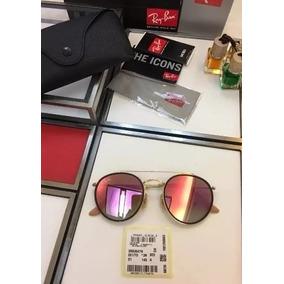 Ray Ban Redondo Rosa Espelhado - Óculos De Sol no Mercado Livre Brasil b71343ae94