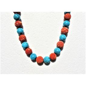 Collar 47 Cm Coral Y Color Turqesa 50% Descuento