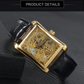 Relógio Winner Golden 105 Skeleton Unissex Luxo Retangular