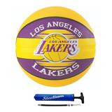 Bola De Basquete Spalding Nba Lakers Borracha 7 + Bomba