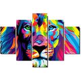 Quadro Painel Decorativo Leao De Juda Colorido Mosaico 5 Pçs