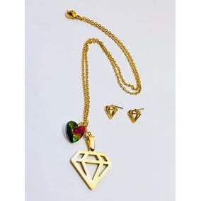 Collar Y Aretes De Diamante Y Corazón Tornasol Acero Inox.